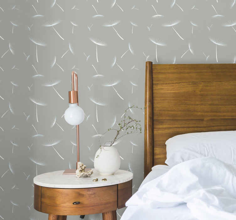TenStickers. Grey flowery lighter Nature wallpaper. Luxury flower pattern wallpaper for bedroom, living room, office and other space decoration. It application is easy, wrinkle proof and durable.