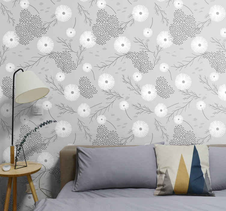 TenStickers. White flowers on light grey background Nature Wallpaper. A lovely flower patterned wallpaper to install an amazing transformation on any space. It suit to decorate any room in a house and for common spaces.