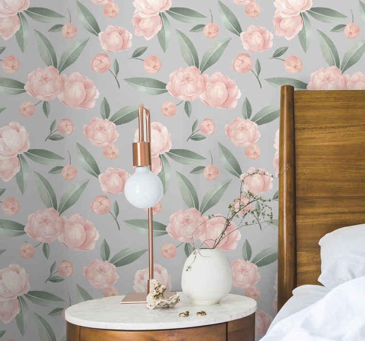 TenStickers. Tapeta w kwiaty Akwarelowe różowe kwiaty. Ta rolka tapety z motywem akwareli w różowym kwiatku byłaby po prostu piękna w Twojej łazience, a także w sypialni i innych wybranych przestrzeniach.