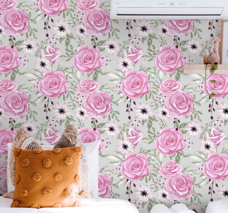 TenStickers. Tapeta w kwiaty Różowe duże na szarym tle. Różowe duże kwiaty na szarym tle - byłaby to fajna tapeta do pokoju dziecięcego, szczególnie do pokoju dziewczynki, lub do salonu i sypialni!