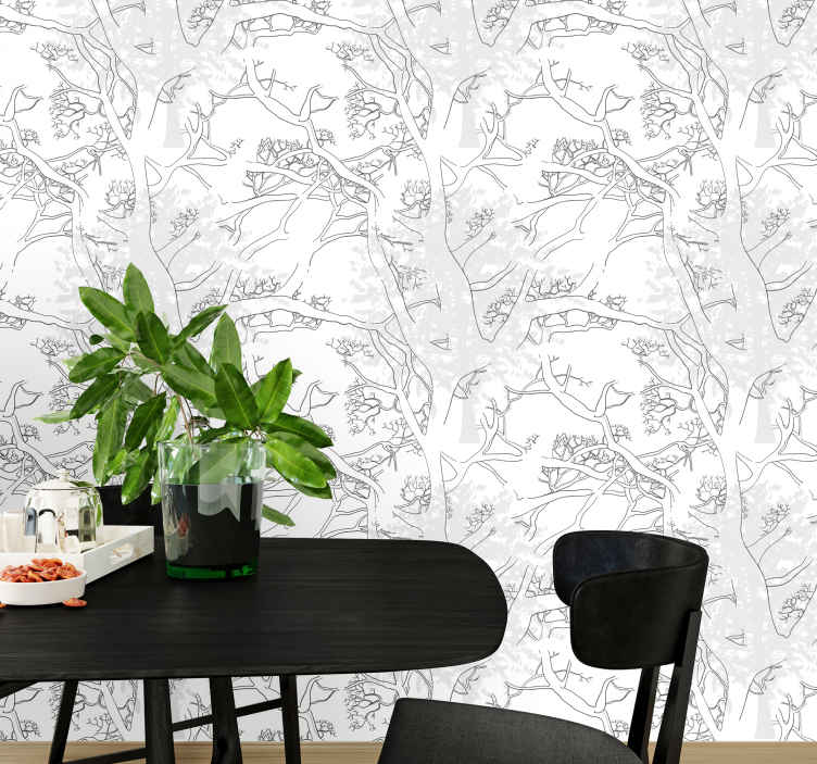TenStickers. Dark tree branches palm tree wallpaper. Wallpaper with the Dark tree branches design is ideal for you to fill your home decoration with elegance, while keeping your walls protected.