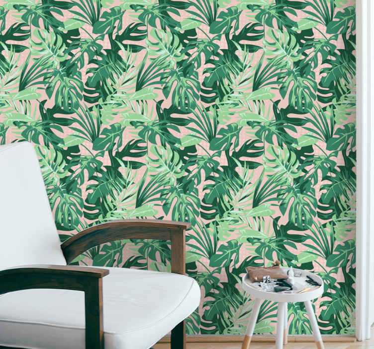 TenStickers. Different green leaves leaves wallpaper. Wallpaper with an illustration of leaves with a palm tree style on a grey background ideal for decorating the walls of your office or any other space.