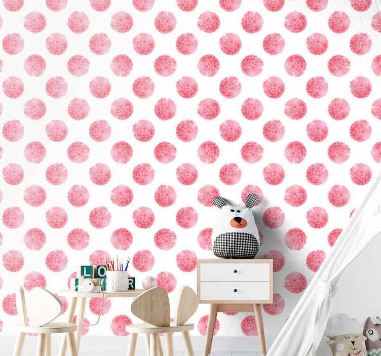 TenStickers. 圆的白色大自然壁纸上的粉红色花朵. 以白色背景上的圆形粉红色花朵为例的墙纸,非常适合您装饰儿童卧室的墙壁
