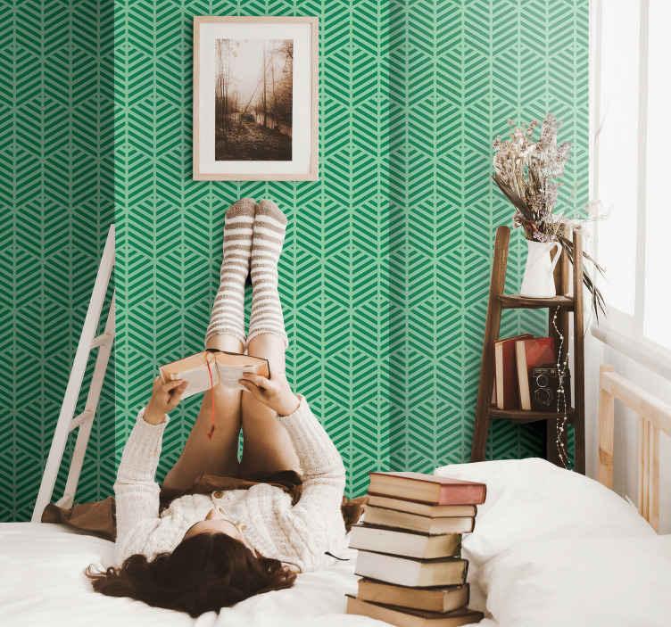 Tenstickers. Vihreät raidat ja kuviot pystysuora raitatapetteja. Teini-taustakuva, jossa on vihreät raidat ja kuviot, ihanteellinen nuorten makuuhuoneen, olohuoneen tai muun huoneen seinien koristeluun.