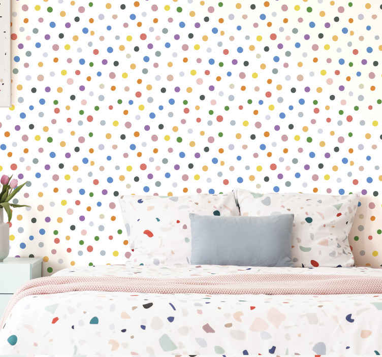 TenStickers. Colorful dots on white Circle Wallpaper. Wallpaper with many colorful dots on a white background, ideal for you to fill with joy and fun the atmosphere of your children's room