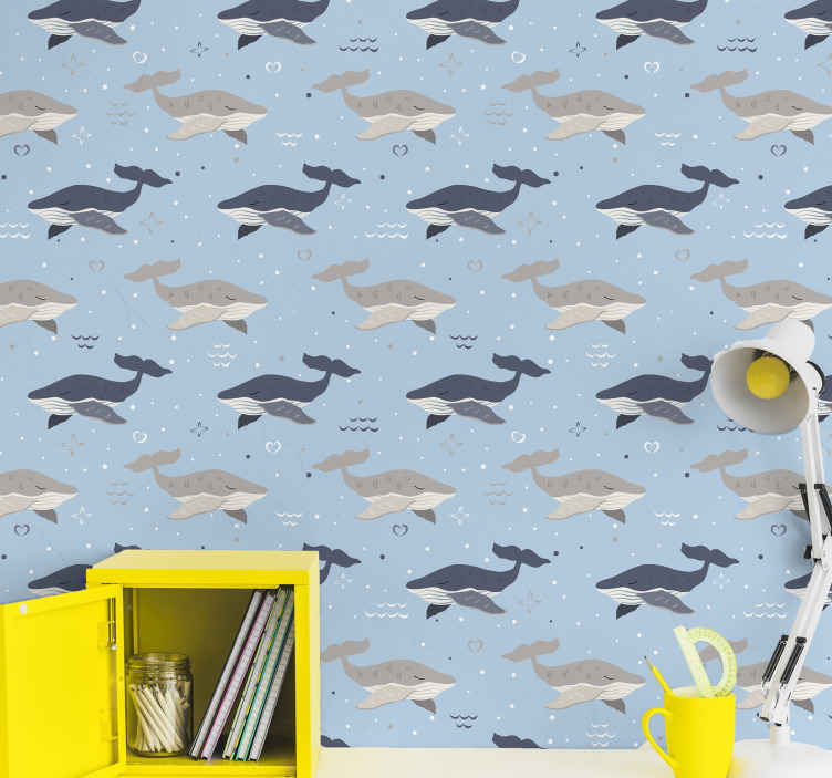 TenStickers. 鲸鱼在波酷动物壁纸. 儿童房壁纸,上面有许多鲸鱼的插图,其中有灰色和蓝色的海浪,超级原始,柔和而独特的设计。