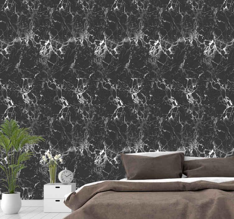 TenStickers. 黑色大理石大理石效果壁纸. 现代墙纸,配以黑色大理石的插图,非常适合墙壁使用,以保持经典和独特的风格。极其持久的材料。