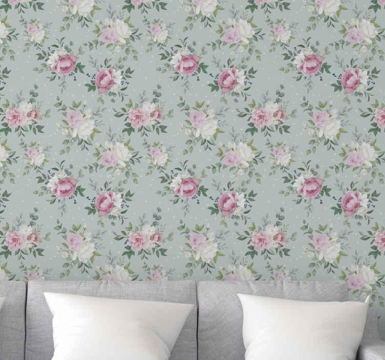 TenVinilo. Papel pintado de flores Floral azul y rosa. ¡Este papel pared flores rosa único y decorativo tiene un diseño único y genial que seguramente le dará a su casa más energía! ¡Comprar ahora!