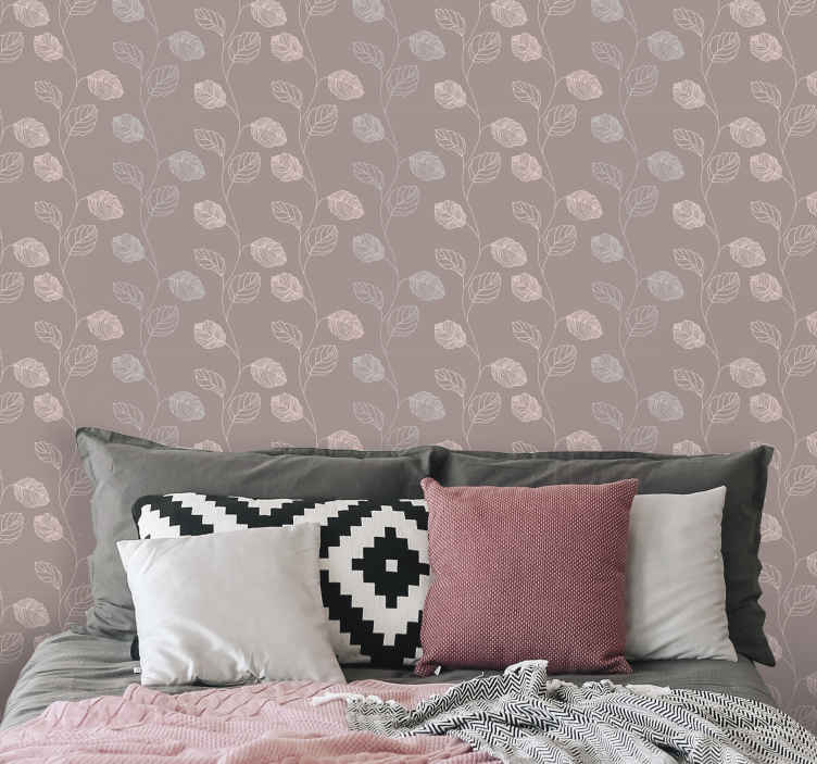 TenStickers. Pink and grey leaves leaves wallpaper. This beautiful pink plant wallpaper product will surely bring your room so much more light! Have this wonderful product at home soon!