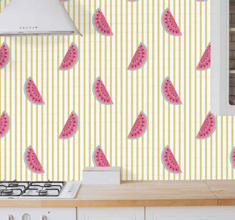 TenVinilo. Papeles de pared modernos Sandía con rayas. Compre este hermoso papel pintado moderno de sandía con rayas para  su cocina y deje que su encantadora presencia se apodere del su lugar favorito.