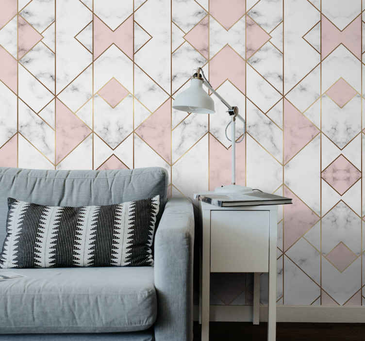 TenStickers. Pink geometric figure Cool abstract wallpaper. Pink geometric figure abstract wallpaper to change and customize any wall space in a house or office. It is original, waterproof and wrinkle proof.