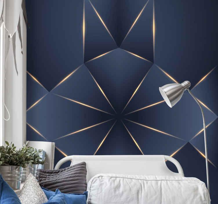TenStickers. 3d几何图形卧室壁纸. 您可以使用此3d几何图形墙纸以惊人的效果改变房屋或办公室中任何空间的外观。