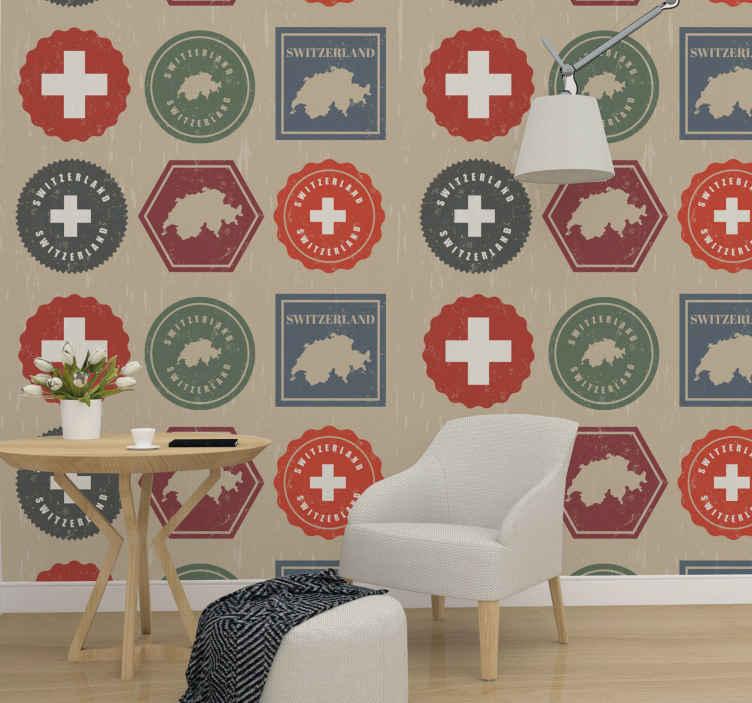 TenStickers. Tapisserie salon Timbres de suisse vintage. Papier peint avec l'illustration de timbres suisses vintage qui se combinent avec la décoration de votre maison, il sera idéal dans votre salon.