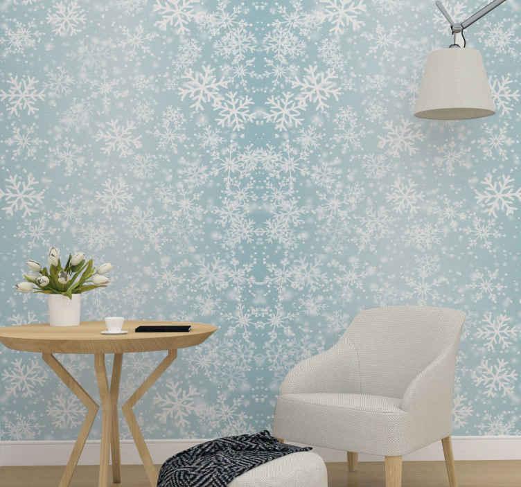 TenStickers. Tapisserie salon Chute de neige. sticker de fond bleu papier peint à motifs de neige pour décorer n'importe quelle pièce d'une maison et d'autres endroits pour noël. Durable.