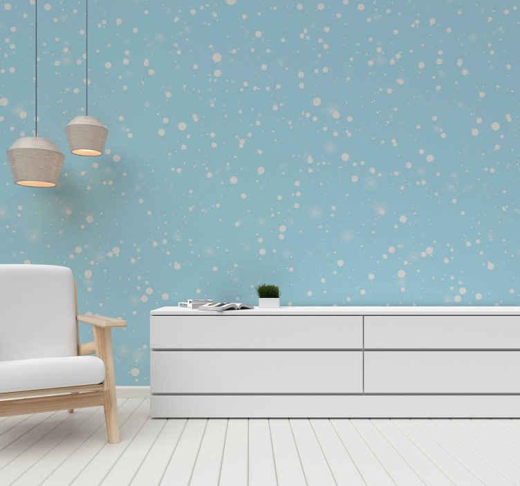 TenStickers. 落雪休息室壁纸. 如果您爱雪,这是您住所必不可少的客厅墙纸!不要再等待了,今天订购!