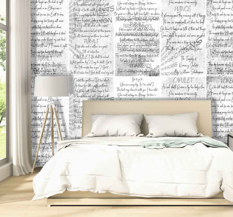 "TenStickers. Shakespeare's Lovers Letter Wallpaper. Sublime artistic wallpaper with an excerpt from the famous literary work ""Romeo and Juliet"" by the great playwright William Shakespear!"