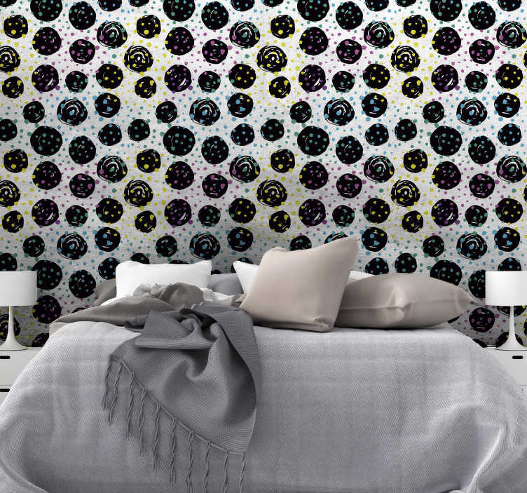 TenStickers. Stylish Dots Circle Pattern Wallpaper. Give your room a new life without having to paint it! This spectacular abstract wallpaper is perfect for a innovative decoration.