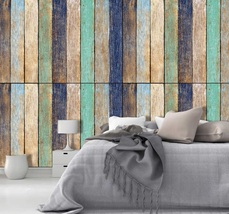 TenStickers. Wooden alliance  Textured Wallpaper. A fantastic, unique wood effect wallpaper for your home! Featuring planks of wood in various colours adding a gentle splash of colour to your room!
