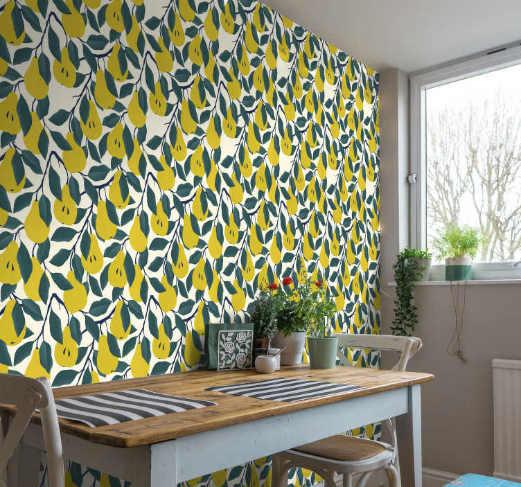 TenStickers. Pear Tree Wallpaper. Add some fun and excitement to your walls using this pear tree wallpaper.  This design would be great in kitchens where it will add a bold character