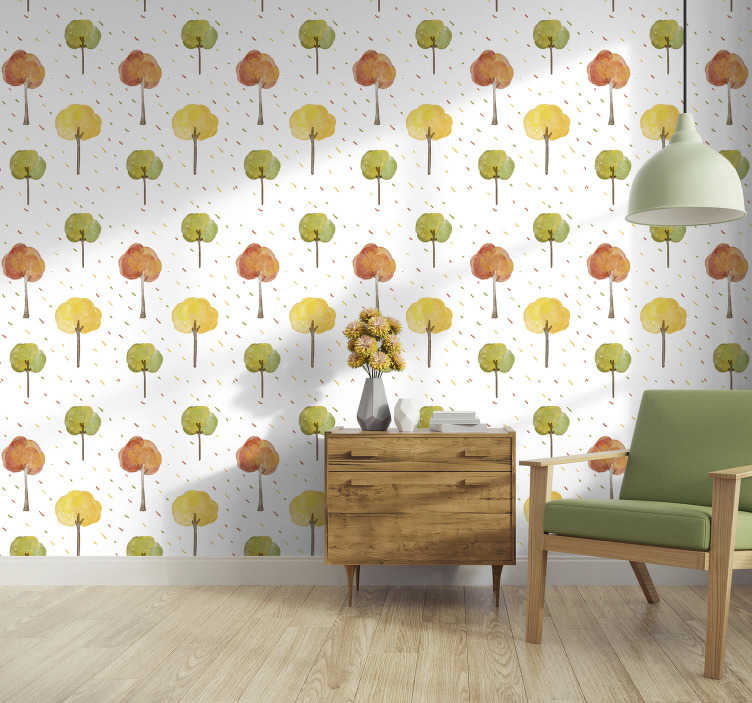TenStickers. Autumnal trees nature Wallpaper. This is the perfect tree wallpaper if you are looking to add a cosy, autumnal touh to your home. Our nature wallpapers are super easy to apply!