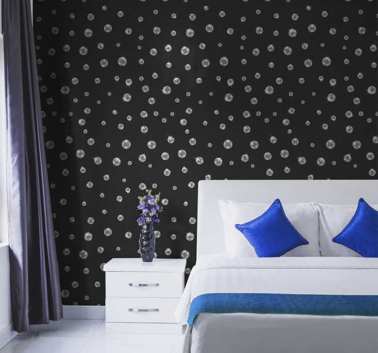 TenStickers. Pearl Curtain Pattern Wallpaper. Textures geometric wallpaper for loving room designed on a black classy background. This design can be applied anywhere else you prefer.Easy to apply.