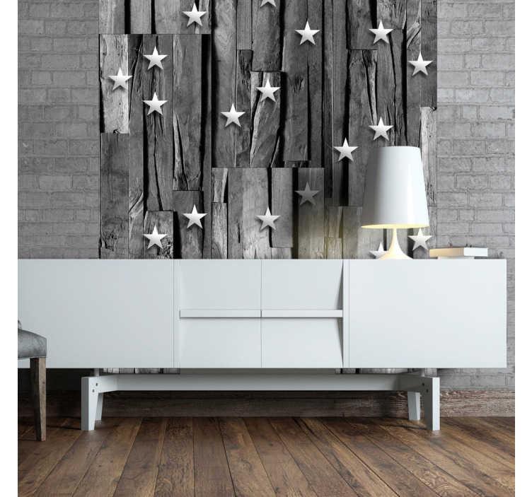 TenStickers. carta da parati texture su legno grigio. Crea una decorazione originale in qualsiasi stanza e scopri questa carta da parati effetto legno, con stelle sopra un fondo di legno grigio