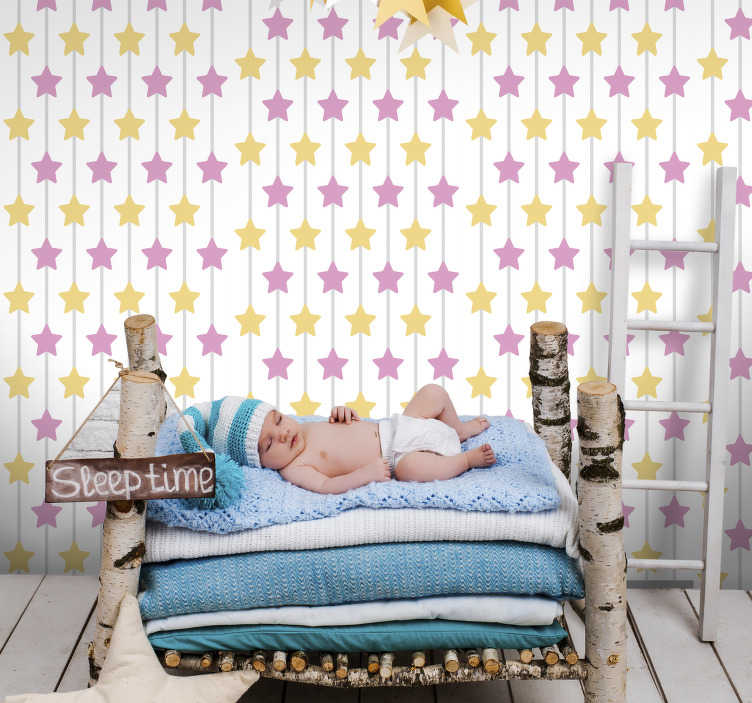 TenStickers. Pink Star Bedroom Wallpaper. Turn any room in your home into a magical wonderland with this beautiful pink star wallpaper. Worldwide delivery available!