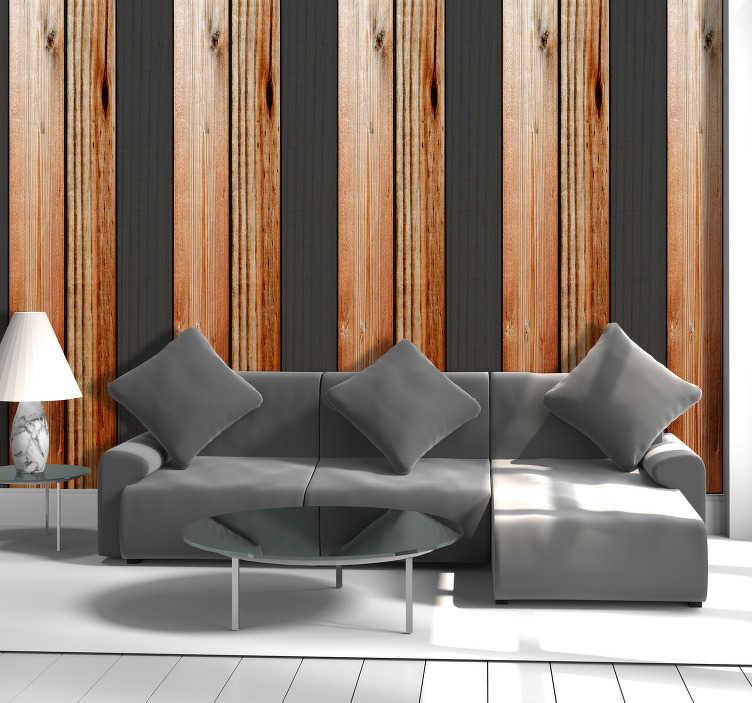 TenVinilo. Papel pintado de rayas madera natural y negra. Papel pintado a rayas con la textura de madera natural y madera negra, alternadas una a una para tener un patrón bonito y elegante. Hazte con el tuyo!