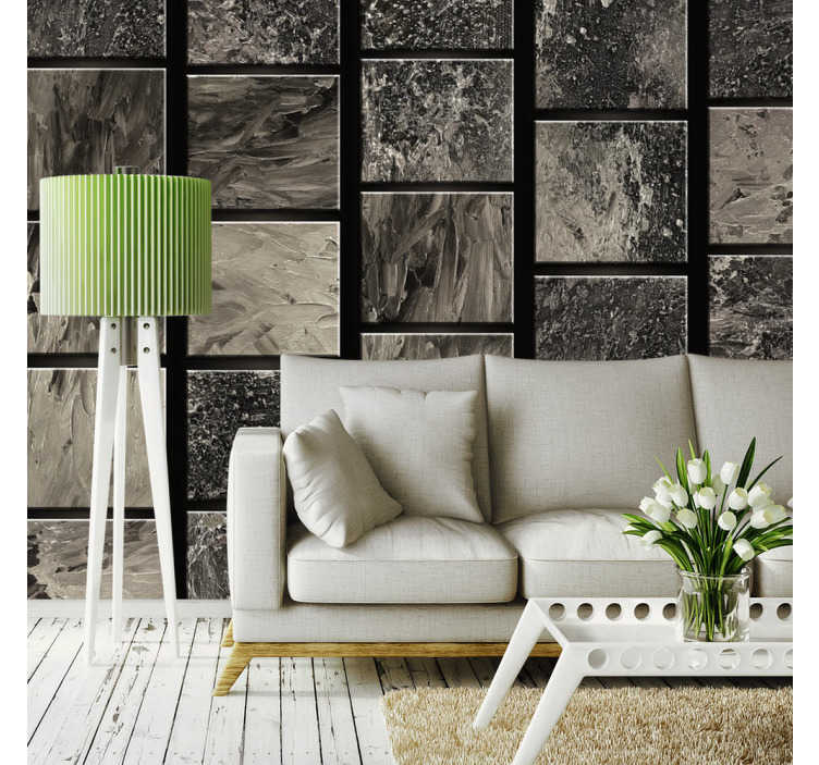 TenStickers. papel parede abstracto quadrados pintados. Moderniza a tua sala de estar com este fantástico papel de parede vinilico abstracto com quadrados pintados de diferentes formas.