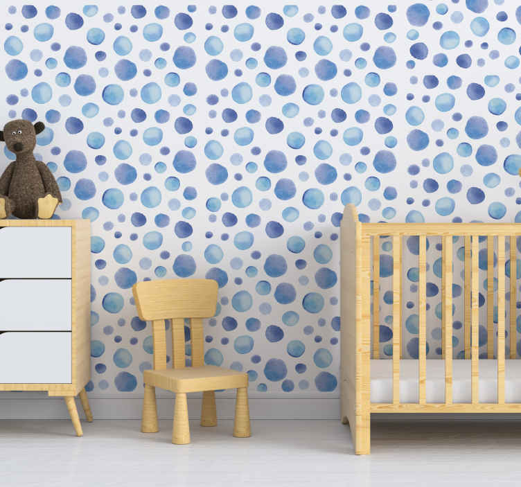 TenStickers. Colourful Bubbles Moon Wallpaper. blue mole geometric patterned wallpaper for kids bedroom that you will love on the wall surface. This design will creates happy moment for your baby.