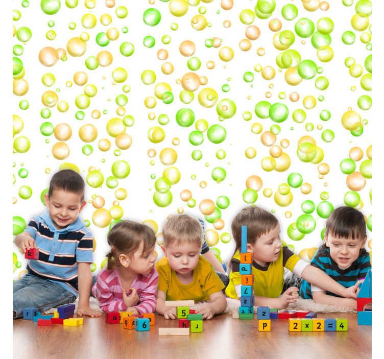 TenStickers. Carta parati geometrica bolle verdi e gialle. Crea una cameretta originale per i tuoi bimbi, con la nostra carta da parati bambini, con delle bolle di colore verde, giallo ed arancione.