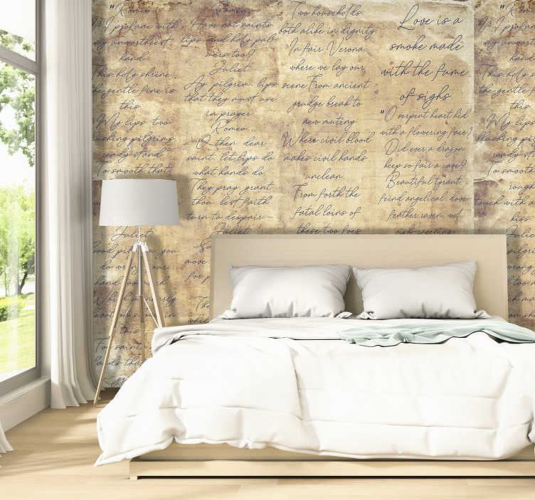TenStickers. Romeo and Juliet love verse lettering wallpaper. Romeo, Romeo, wherefore art thou beautiful wallpaper? That's what Juliet wanted to know, and well here it is, a beautiful lettering wallpaper!