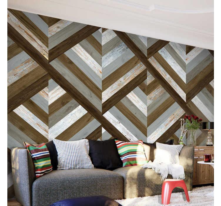 TenStickers. carta parati texture rombi di legno. Se vuoi creare un'atmosfera rustica nel tuo soggiorno, questa carta da parati effetto legno è perfetta per te, per un arredamento familiare!