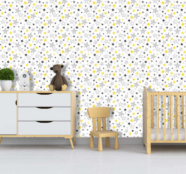 TenStickers. Star Pattern Bedroom Wallpaper. Turn any room in your home, office or store into a place of wonder with this star pattern wallpaper. Worldwide delivery available!