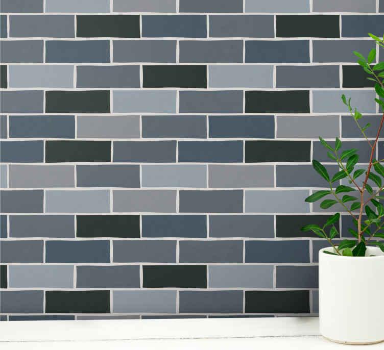 Light Gray Brick Pattern Wallpaper Tenstickers