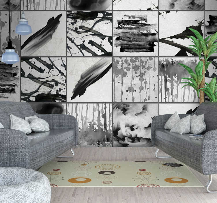 TenStickers. Dripping Paint Modern Wallpaper. Show off to your friends and family just how cool and edgy you are with this awesome paint splatter grey wallpaper. Worldwide delivery!