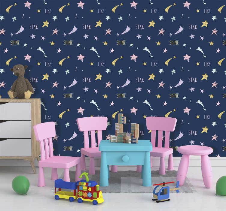 TenStickers. Lace Constellation Striped Wallpaper. Bring the beauty of the night's sky into your home with this beautiful golden star laced wallpaper. Free delivery available worldwide!