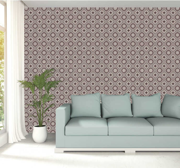 TenStickers. Golden Pattern Tile Wallpaper. Put the master back into master bedroom with the regal looking golden pattern wallpaper. Free worldwide delivery available!