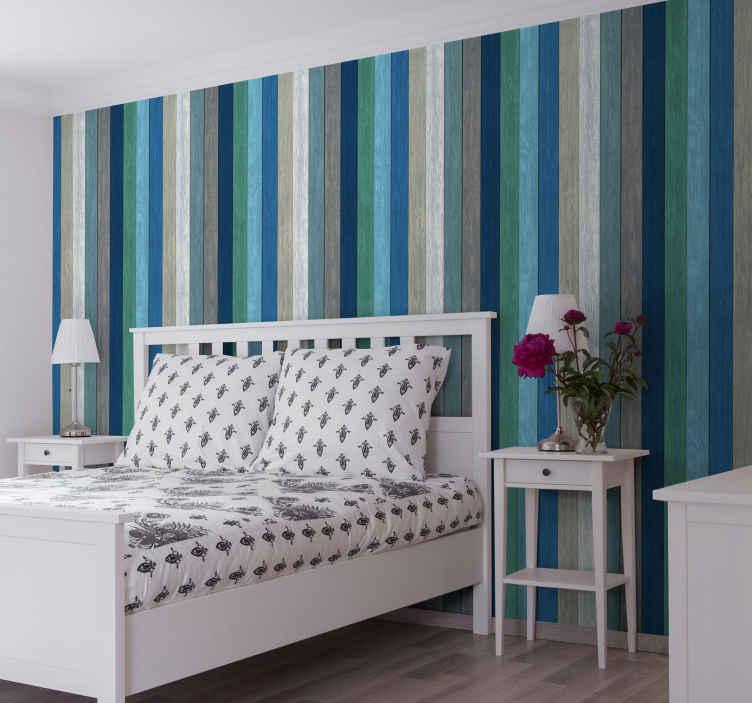 TenStickers. 墙纸-海外冒险条纹墙纸. 海外冒险条纹壁纸设计,以棕色,绿色,蓝色,白色和灰色的美丽颜色组织得井井有条。