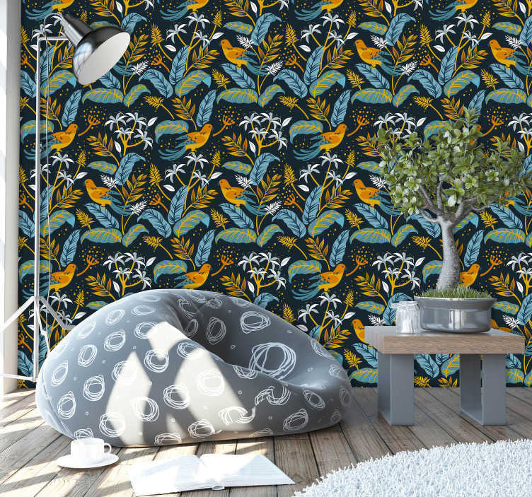 TenStickers. Free birds Bird Wallpaper. If you want your wall to take flight and become a wall of life and colour then this animal wallpaper will do exactly that for you!