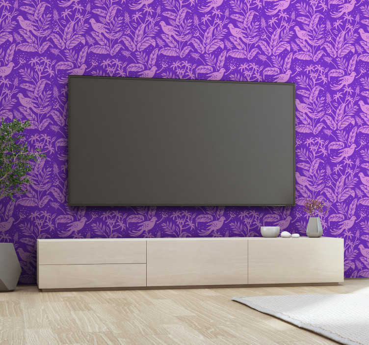 TenStickers. Purple Birds 3D Bird Wallpaper. Add to the calm and tranquility of any room in your home with this beautiful and elegant purple birds 3D wallpaper. Free delivery available!