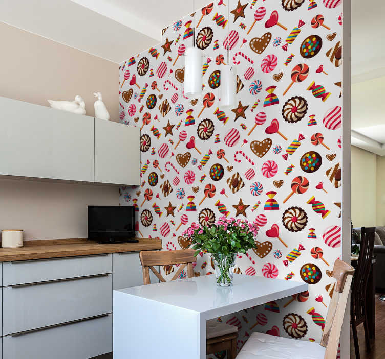 TenStickers. Chocolate Biscuit Assortment Kitchen Vinyl Wallpaper. Bring a little much-needed sweetness into your life with this awesome biscuit assortment wallpaper. Free worldwide delivery available!