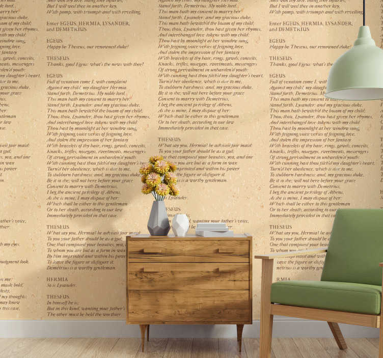 TenStickers. Shakespeare Paper Script Bedroom Wallpaper. Bring the Shakespearian world of comedy and tragedy into your home with this Shakespeare script wallpaper. Free worldwide delivery available!