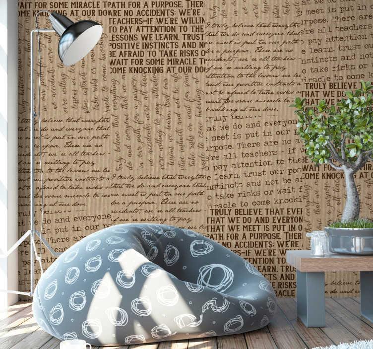 TenStickers. 우리가 질감 벽지를 믿는 것. ``우리가 믿는 것 ''문자 회색 무늬 벽지는 집에서 벽면을 아름답게하는 데 필요한 전부입니다. 이것은 많은 글자의 디자인입니다.