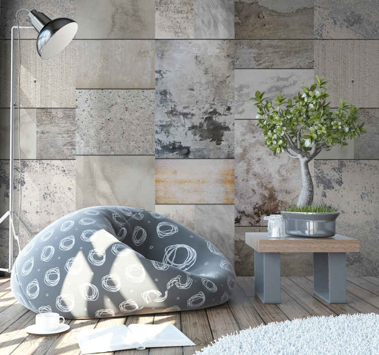 TenStickers. Old Stone Textured Wallpaper. The wonderful textured wallpaper imitating stone with irregular tiles will transform your home into a unique and exclusive place.