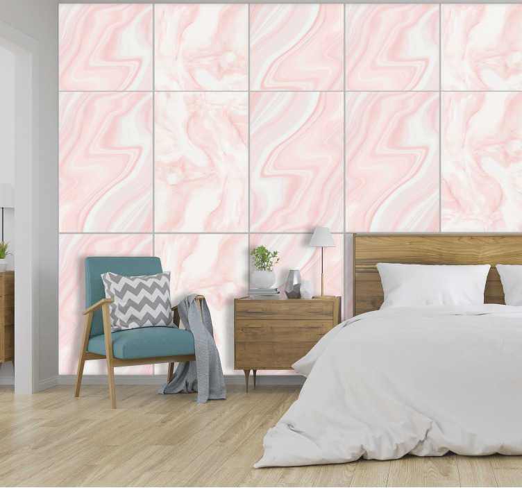 TenStickers. Constancy in feelings Pattern Wallpaper. Give your room a new life with this fantastic marbel effect wallpaper with a pattern imitating marble in shades of pink, gray and pearl white.