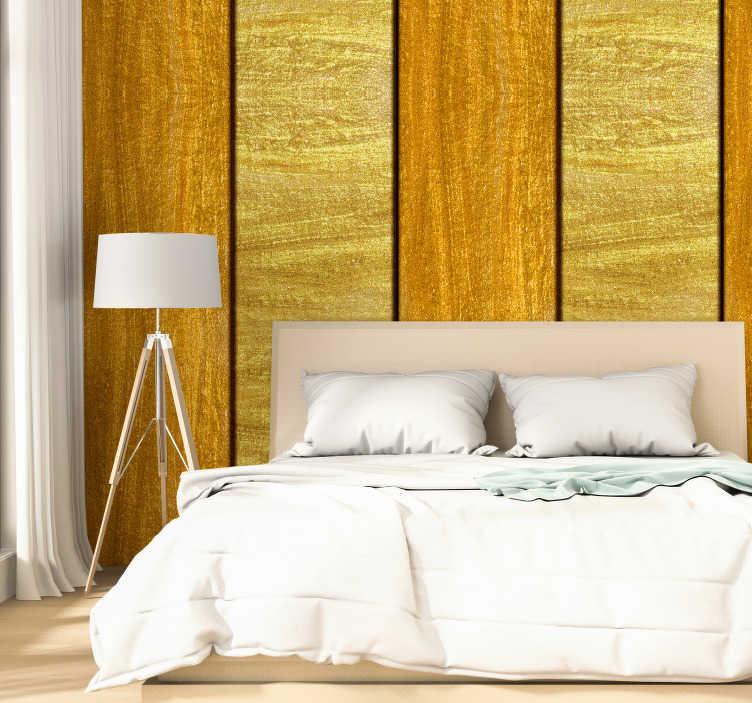 TenStickers. 图案壁纸黄金王国. 房间墙纸是一种让您忘掉无聊的墙壁的绝妙方法。该项目包含金色和黄色条纹的设计。