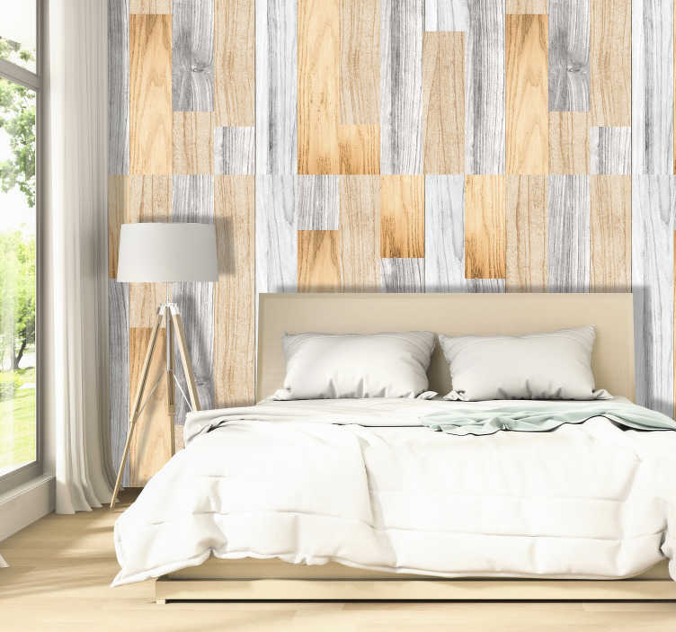 TenStickers. Wooden Cover Pattern Wallpaper. Magnificent luxury wallpaper with a pattern imitating wood in neutral tones. Ideal for decorating the walls of your living room.