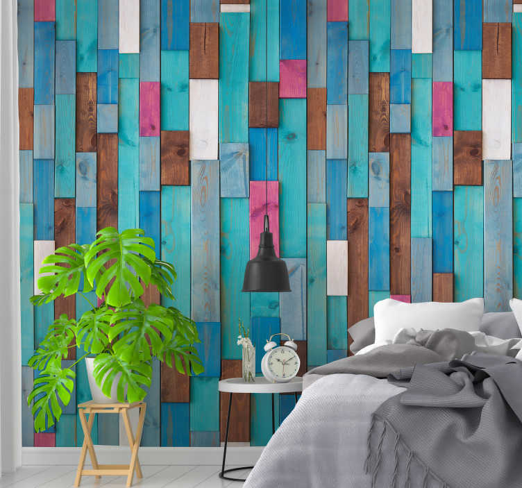 TenStickers. Natural muse Pattern Wallpaper. Decorate your living room, dining room or bedroom with this sublime and original textured vinyl wallpaper imitating wood in different colors.
