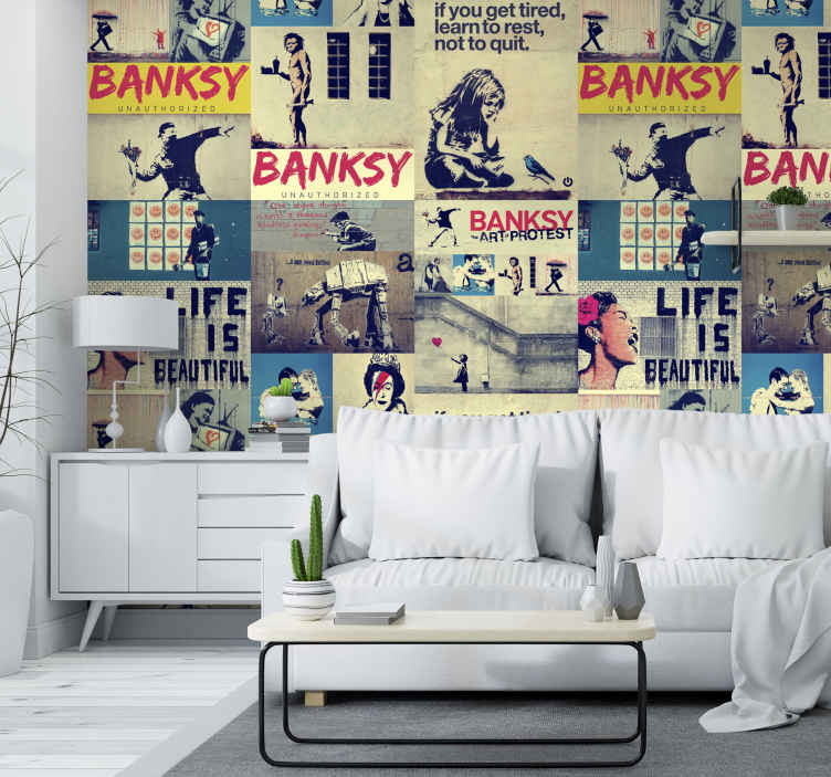 TenStickers. Collage - Bansky Modern Wallpaper. Personalized space with this magnificent and colorful artistic wallpaper composed by a collage of several famous works by Bansky.